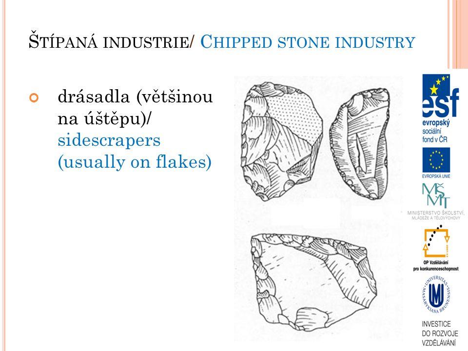 drásadla (většinou na úštěpu)/ sidescrapers (usually on flakes) Š TÍPANÁ INDUSTRIE / C HIPPED STONE INDUSTRY