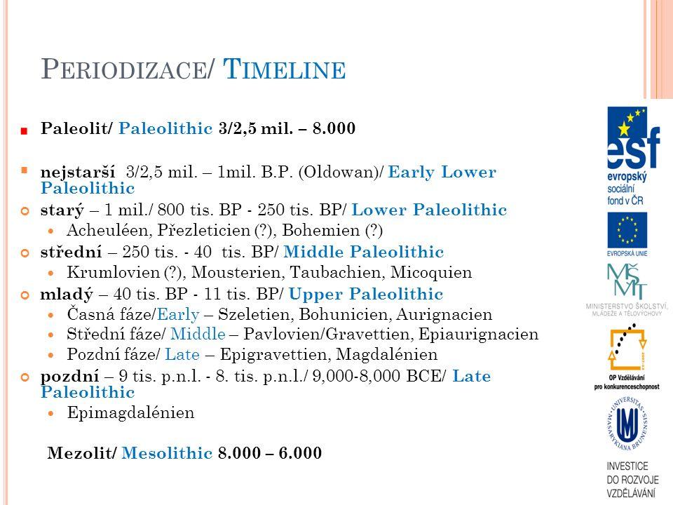 P ERIODIZACE / T IMELINE Paleolit/ Paleolithic 3/2,5 mil. – 8.000  nejstarší 3/2,5 mil. – 1mil. B.P. (Oldowan)/ Early Lower Paleolithic starý – 1 mil