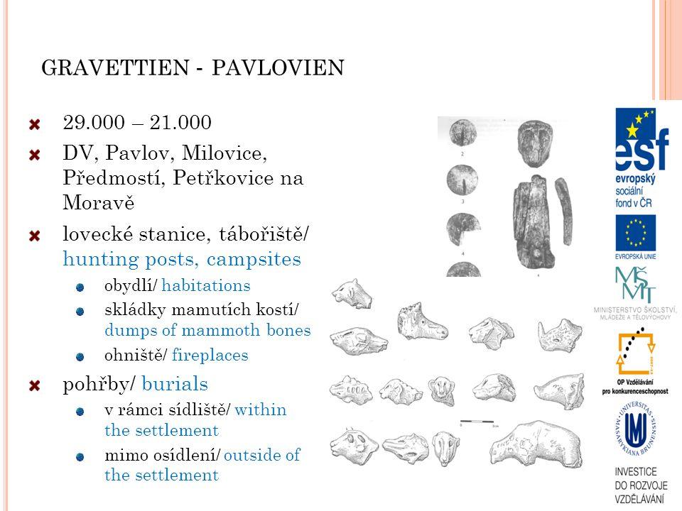 GRAVETTIEN - PAVLOVIEN 29.000 – 21.000 DV, Pavlov, Milovice, Předmostí, Petřkovice na Moravě lovecké stanice, tábořiště/ hunting posts, campsites obyd
