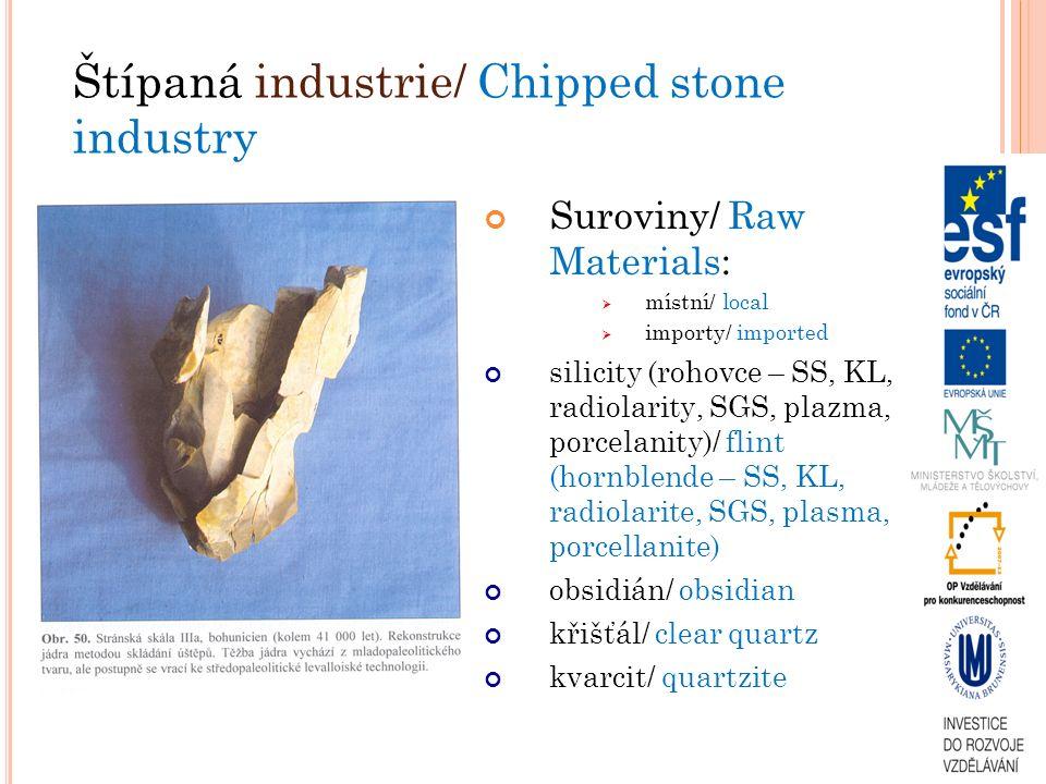Suroviny/ Raw Materials:  místní/ local  importy/ imported silicity (rohovce – SS, KL, radiolarity, SGS, plazma, porcelanity)/ flint (hornblende – SS, KL, radiolarite, SGS, plasma, porcellanite) obsidián/ obsidian křišťál/ clear quartz kvarcit/ quartzite Štípaná industrie/ Chipped stone industry
