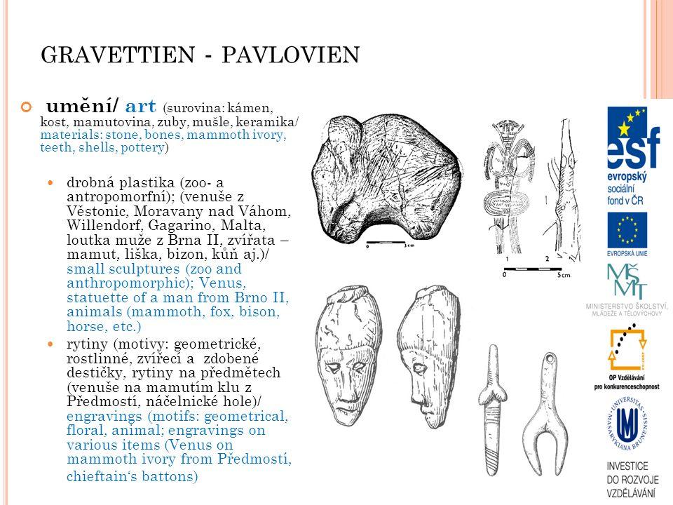 GRAVETTIEN - PAVLOVIEN umění/ art (surovina: kámen, kost, mamutovina, zuby, mušle, keramika/ materials: stone, bones, mammoth ivory, teeth, shells, pottery) drobná plastika (zoo- a antropomorfní); (venuše z Věstonic, Moravany nad Váhom, Willendorf, Gagarino, Malta, loutka muže z Brna II, zvířata – mamut, liška, bizon, kůň aj.)/ small sculptures (zoo and anthropomorphic); Venus, statuette of a man from Brno II, animals (mammoth, fox, bison, horse, etc.) rytiny (motivy: geometrické, rostlinné, zvířecí a zdobené destičky, rytiny na předmětech (venuše na mamutím klu z Předmostí, náčelnické hole)/ engravings (motifs: geometrical, floral, animal; engravings on various items (Venus on mammoth ivory from Předmostí, chieftain's battons)