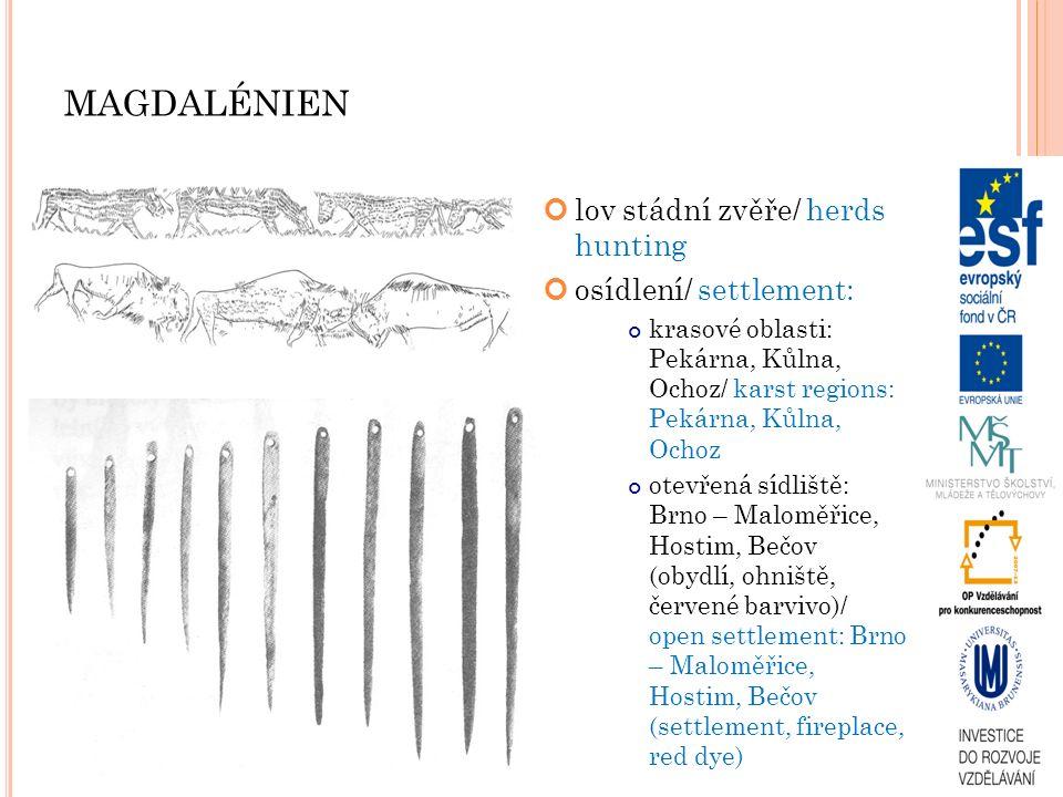 MAGDALÉNIEN lov stádní zvěře/ herds hunting osídlení/ settlement: krasové oblasti: Pekárna, Kůlna, Ochoz/ karst regions: Pekárna, Kůlna, Ochoz otevřen