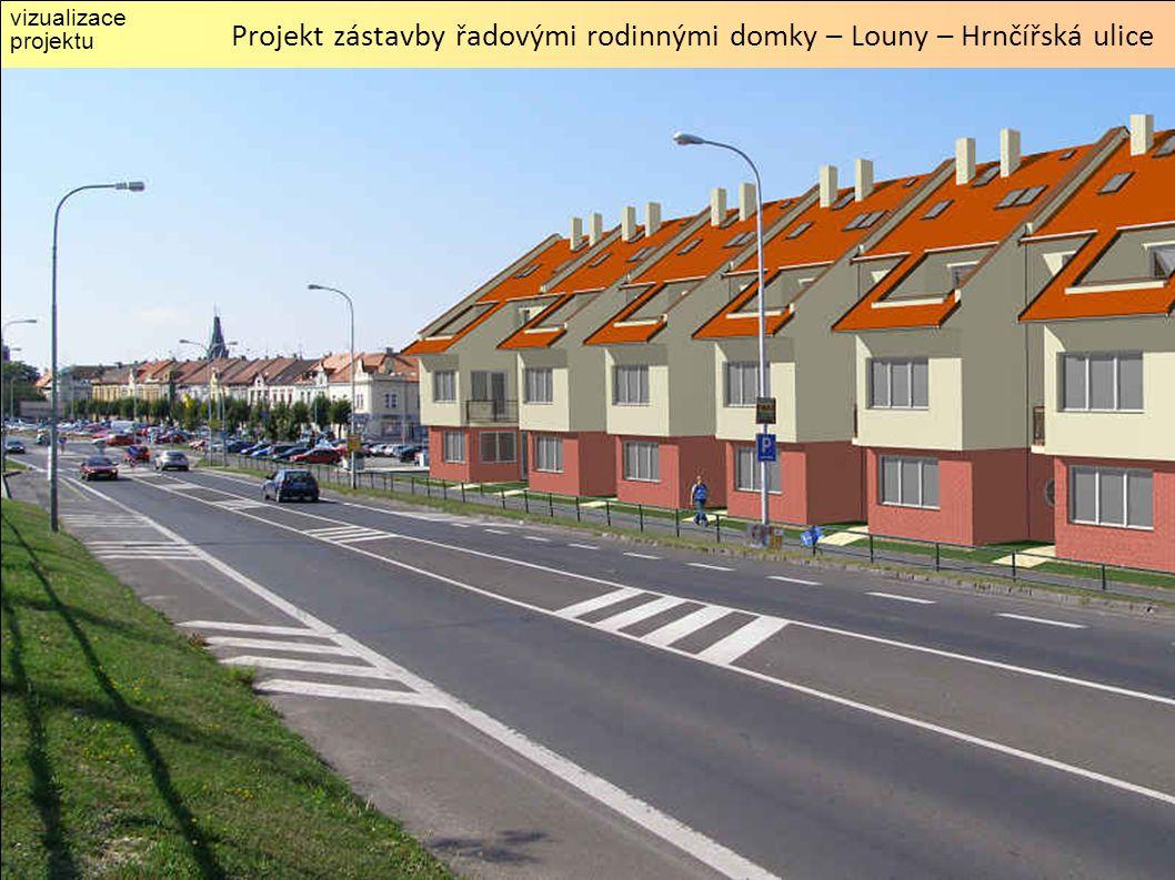 vizualizace projektu Projekt zástavby řadovými rodinnými domky – Louny – Hrnčířská ulice