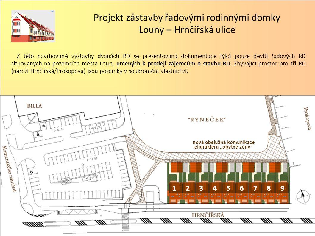 123456789 Z této navrhované výstavby dvanácti RD se prezentovaná dokumentace týká pouze devíti řadových RD situovaných na pozemcích města Loun, určených k prodeji zájemcům o stavbu RD.