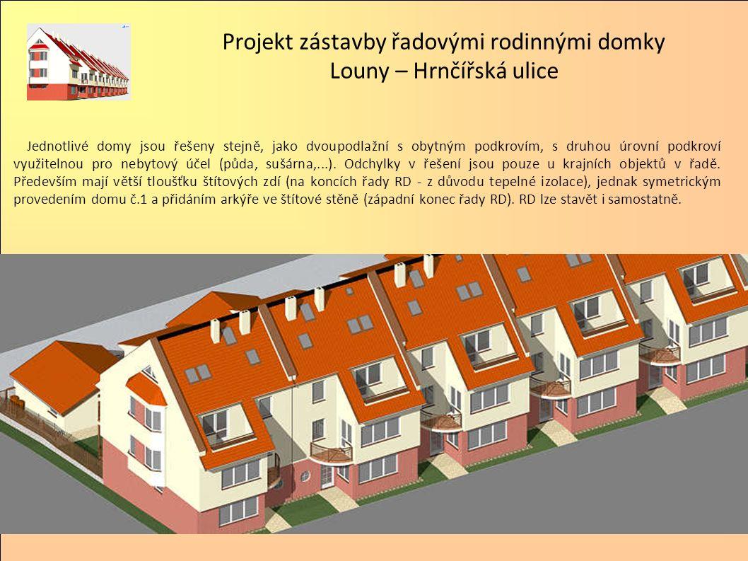 Jednotlivé domy jsou řešeny stejně, jako dvoupodlažní s obytným podkrovím, s druhou úrovní podkroví využitelnou pro nebytový účel (půda, sušárna,...).