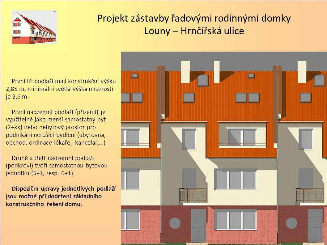 První tři podlaží mají konstrukční výšku 2,85 m, minimální světlá výška místností je 2,6 m.