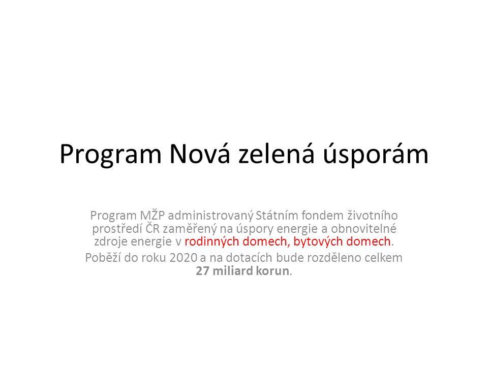Program Nová zelená úsporám Program MŽP administrovaný Státním fondem životního prostředí ČR zaměřený na úspory energie a obnovitelné zdroje energie v rodinných domech, bytových domech.