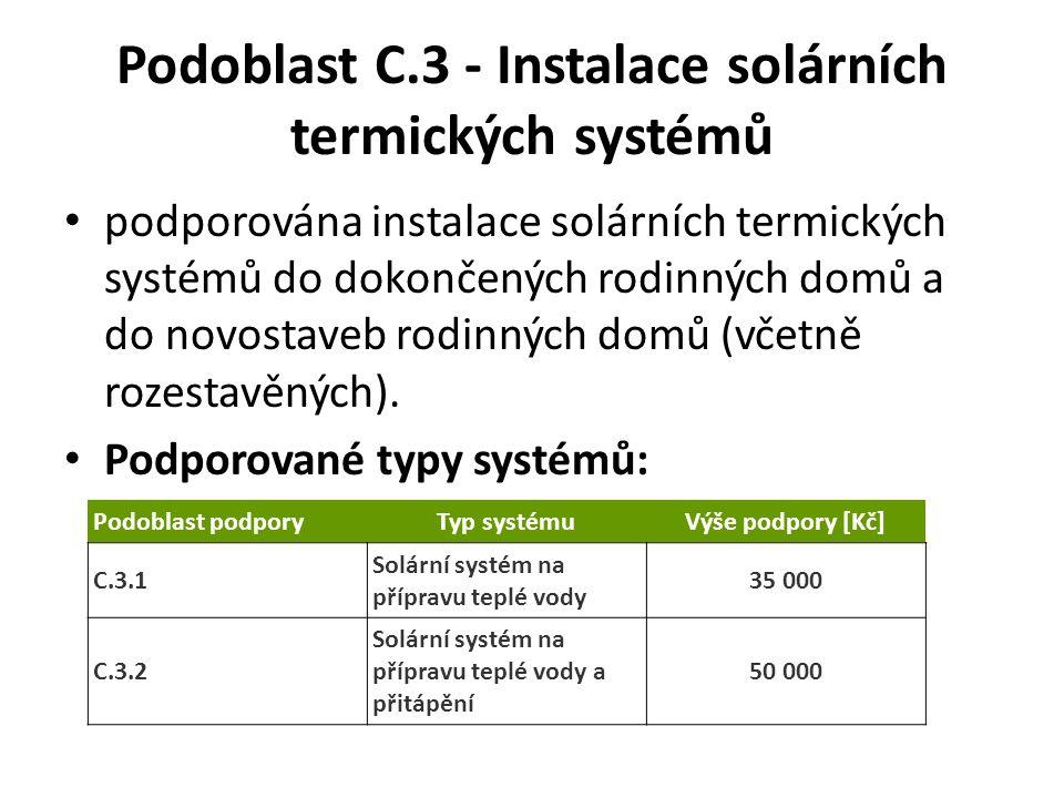 Podoblast C.3 - Instalace solárních termických systémů podporována instalace solárních termických systémů do dokončených rodinných domů a do novostaveb rodinných domů (včetně rozestavěných).