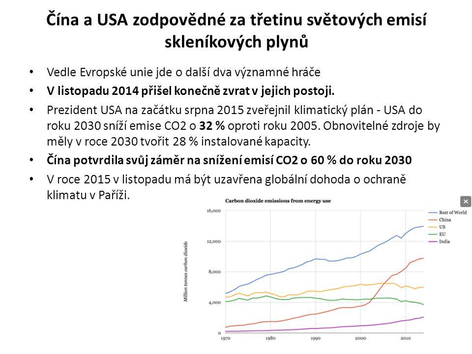 Čína a USA zodpovědné za třetinu světových emisí skleníkových plynů Vedle Evropské unie jde o další dva významné hráče V listopadu 2014 přišel konečně