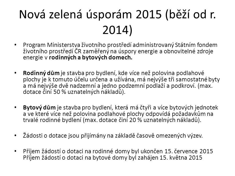 Nová zelená úsporám 2015 (běží od r. 2014) Program Ministerstva životního prostředí administrovaný Státním fondem životního prostředí ČR zaměřený na ú