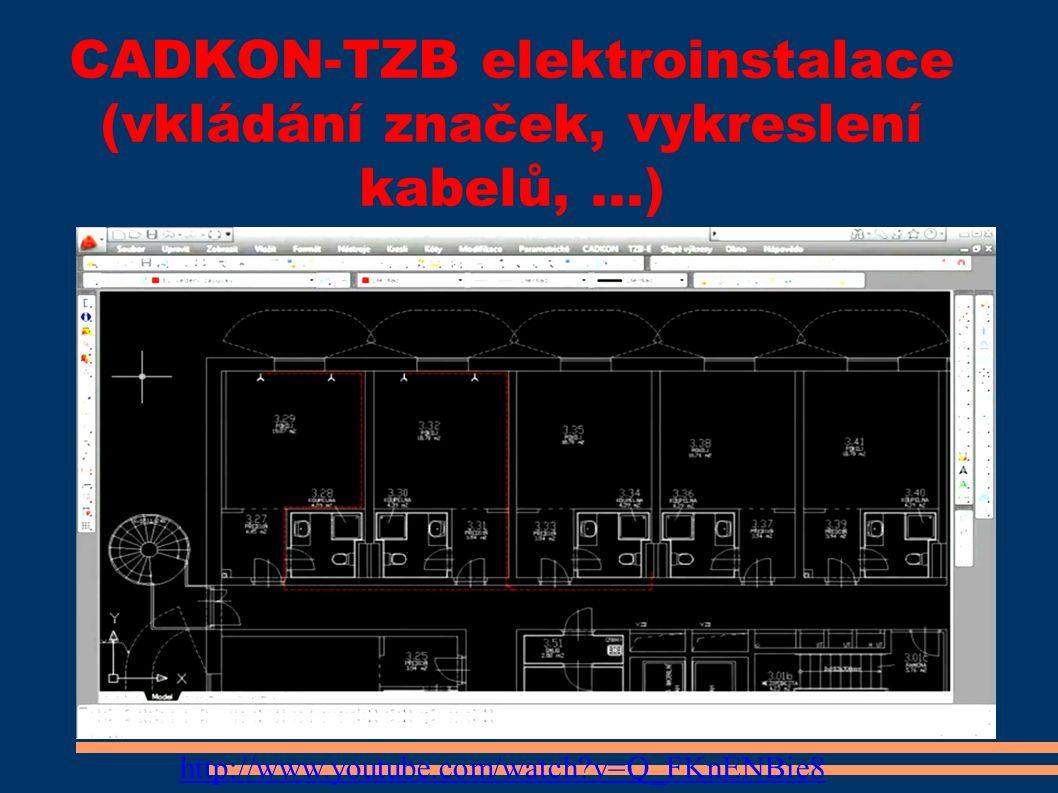 CADKON-TZB elektroinstalace (vkládání značek, vykreslení kabelů,...) http://www.youtube.com/watch v=Q_FKnENBie8