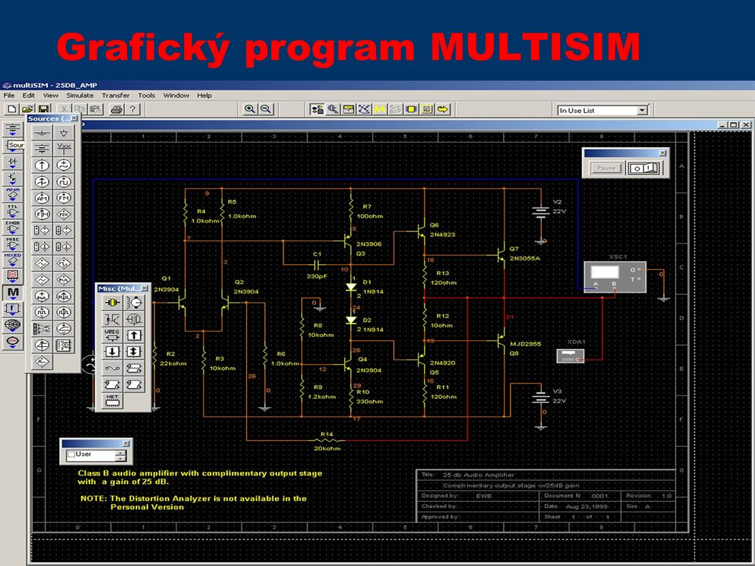 Grafický program MULTISIM
