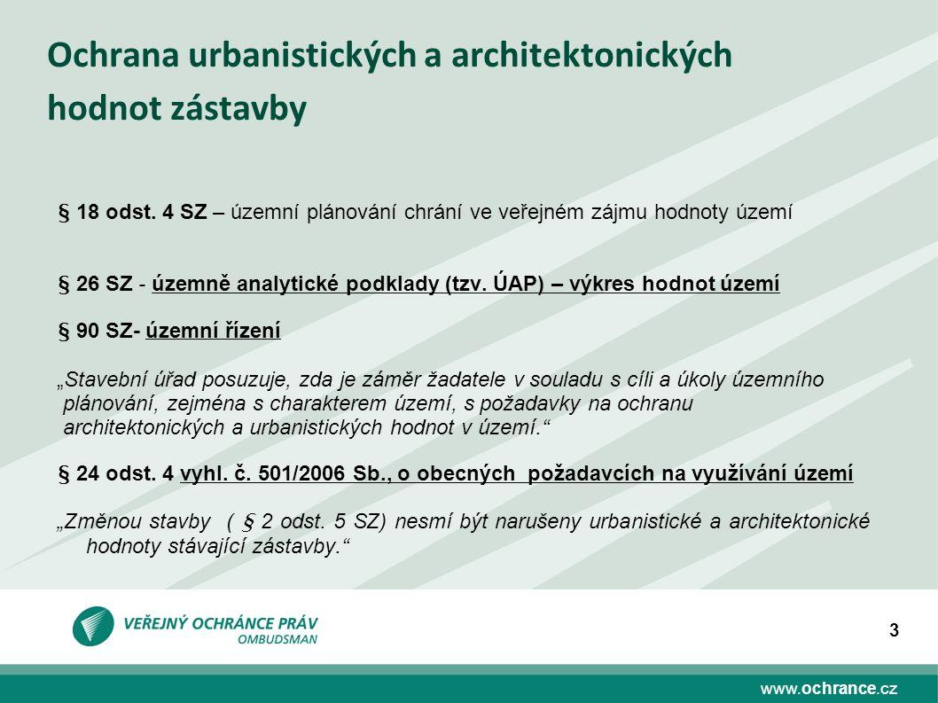www.ochrance.cz 3 Ochrana urbanistických a architektonických hodnot zástavby § 18 odst. 4 SZ – územní plánování chrání ve veřejném zájmu hodnoty území