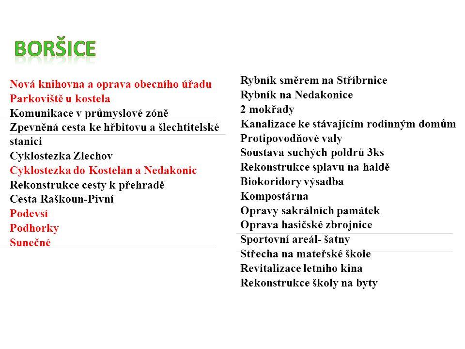 Nová knihovna a oprava obecního úřadu Parkoviště u kostela Komunikace v průmyslové zóně Zpevněná cesta ke hřbitovu a šlechtitelské stanici Cyklostezka Zlechov Cyklostezka do Kostelan a Nedakonic Rekonstrukce cesty k přehradě Cesta Raškoun-Pivní Podevsí Podhorky Sunečné Rybník směrem na Stříbrnice Rybník na Nedakonice 2 mokřady Kanalizace ke stávajícím rodinným domům Protipovodňové valy Soustava suchých poldrů 3ks Rekonstrukce splavu na haldě Biokoridory výsadba Kompostárna Opravy sakrálních památek Oprava hasičské zbrojnice Sportovní areál- šatny Střecha na mateřské škole Revitalizace letního kina Rekonstrukce školy na byty