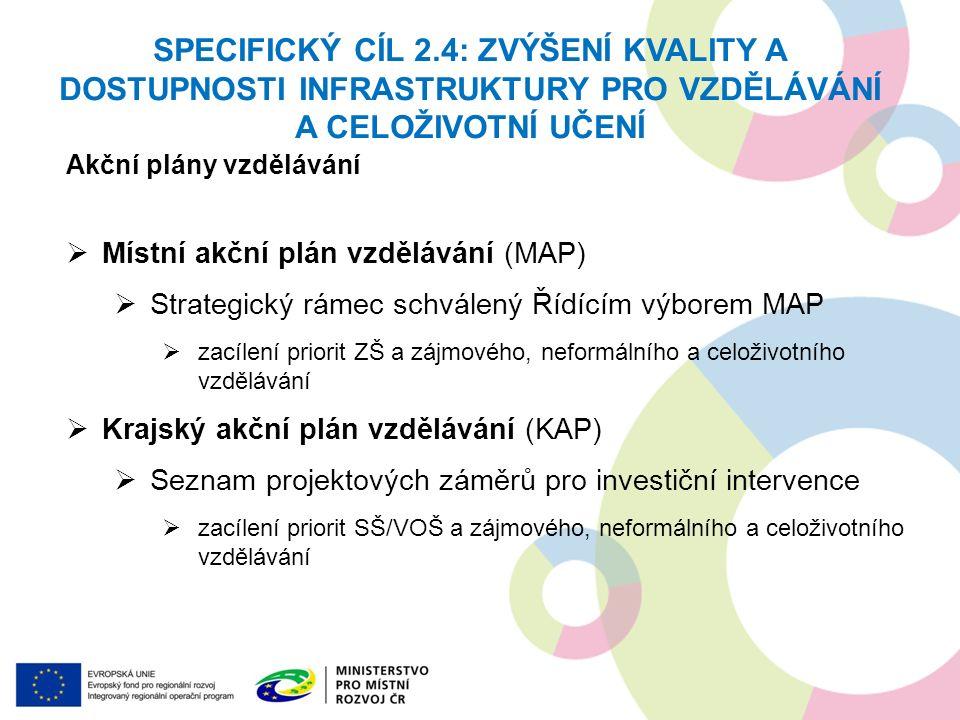 Akční plány vzdělávání  Místní akční plán vzdělávání (MAP)  Strategický rámec schválený Řídícím výborem MAP  zacílení priorit ZŠ a zájmového, nefor