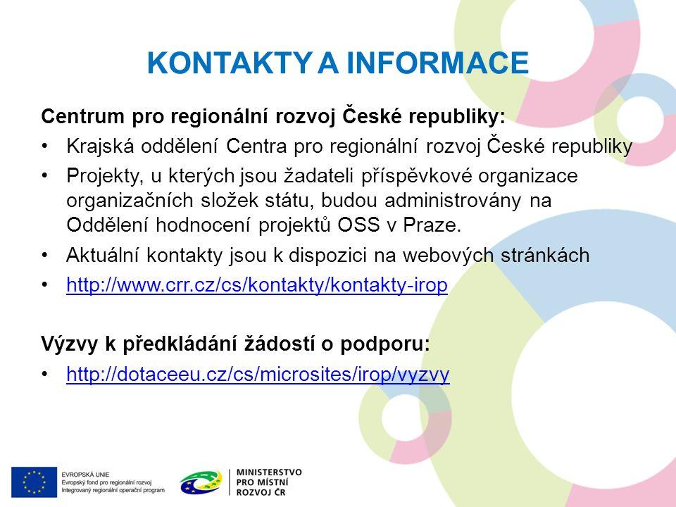 KONTAKTY A INFORMACE Centrum pro regionální rozvoj České republiky: Krajská oddělení Centra pro regionální rozvoj České republiky Projekty, u kterých
