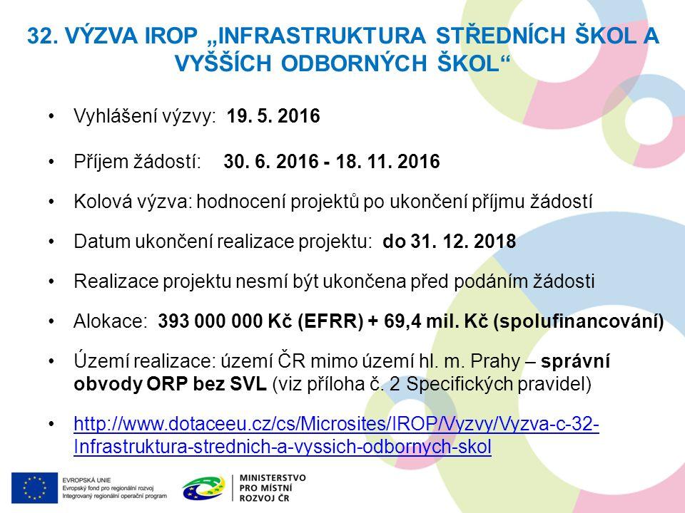 Vyhlášení výzvy: 19. 5. 2016 Příjem žádostí: 30. 6. 2016 - 18. 11. 2016 Kolová výzva: hodnocení projektů po ukončení příjmu žádostí Datum ukončení rea