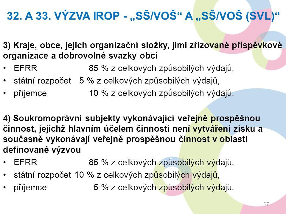 """32. A 33. VÝZVA IROP - """"SŠ/VOŠ"""" A """"SŠ/VOŠ (SVL)"""" 3) Kraje, obce, jejich organizační složky, jimi zřizované příspěvkové organizace a dobrovolné svazky"""