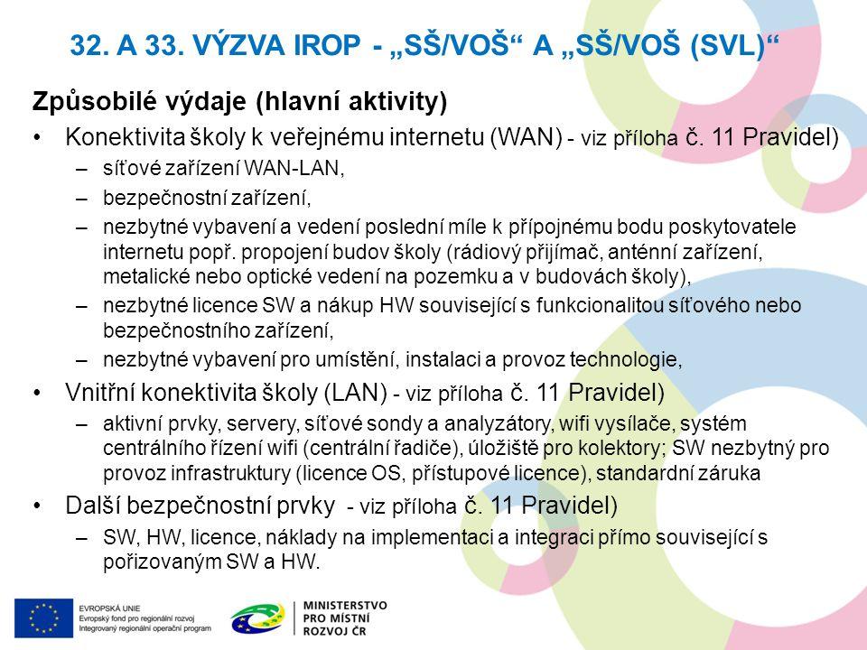 Způsobilé výdaje (hlavní aktivity) Konektivita školy k veřejnému internetu (WAN) - viz příloha č. 11 Pravidel) –síťové zařízení WAN-LAN, –bezpečnostní