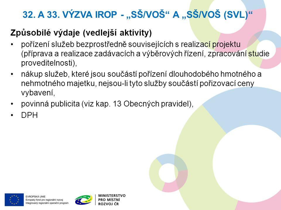 Způsobilé výdaje (vedlejší aktivity) pořízení služeb bezprostředně souvisejících s realizací projektu (příprava a realizace zadávacích a výběrových ří