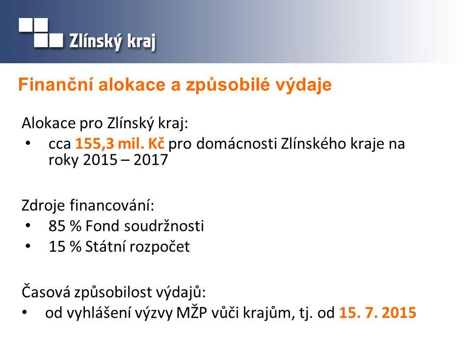 Finanční alokace a způsobilé výdaje Alokace pro Zlínský kraj: cca 155,3 mil.