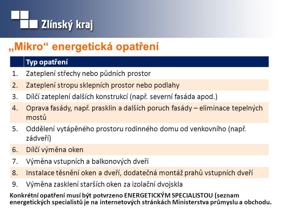 """"""" Mikro energetická opatření Konkrétní opatření musí být potvrzeno ENERGETICKÝM SPECIALISTOU (seznam energetických specialistů je na internetových stránkách Ministerstva průmyslu a obchodu."""