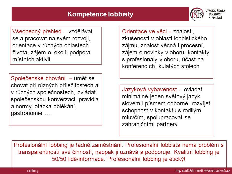 Kompetence lobbisty Lobbing Ing.