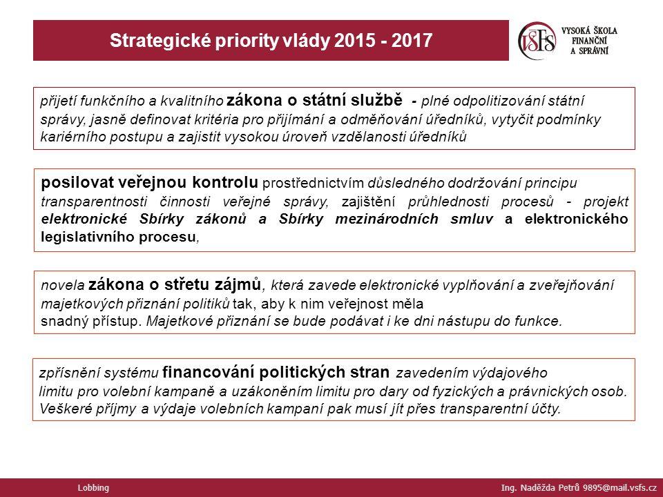 Lobbing Ing. Naděžda Petrů 9895@mail.vsfs.cz Strategické priority vlády 2015 - 2017 přijetí funkčního a kvalitního zákona o státní službě - plné odpol