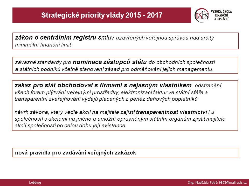 Lobbing Ing. Naděžda Petrů 9895@mail.vsfs.cz Strategické priority vlády 2015 - 2017 zákon o centrálním registru smluv uzavřených veřejnou správou nad