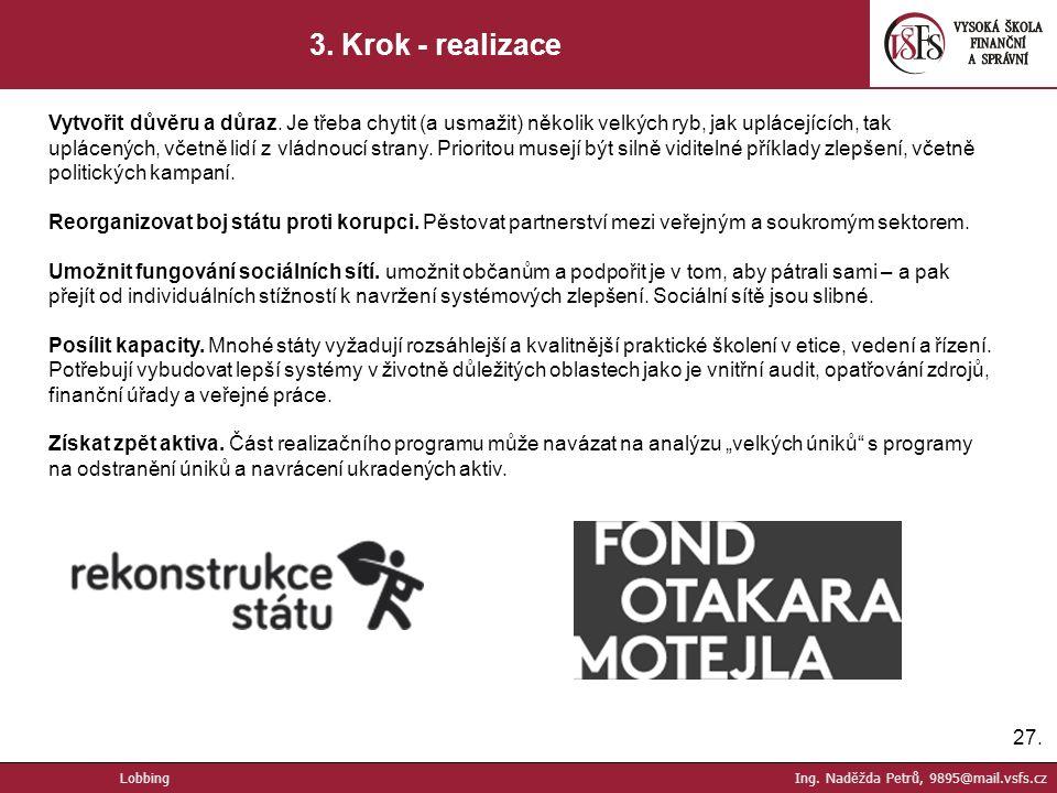 27. 3. Krok - realizace Lobbing Ing. Naděžda Petrů, 9895@mail.vsfs.cz Vytvořit důvěru a důraz.
