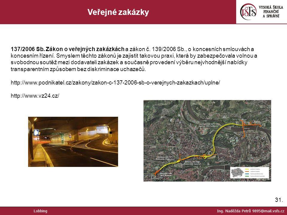 31. Veřejné zakázky Lobbing Ing. Naděžda Petrů 9895@mail.vsfs.cz 137/2006 Sb.