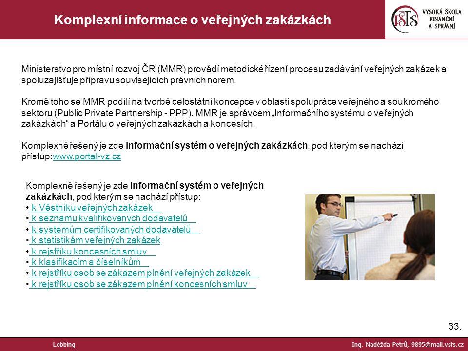 33. Komplexní informace o veřejných zakázkách Lobbing Ing.