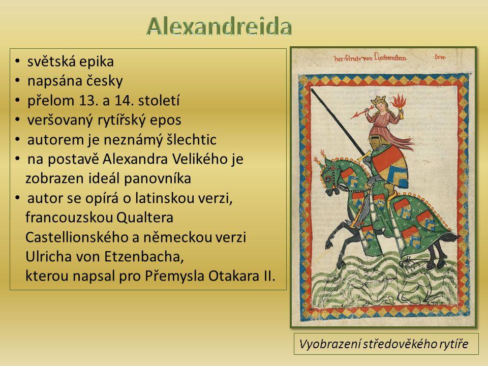 světská epika napsána česky přelom 13.a 14.