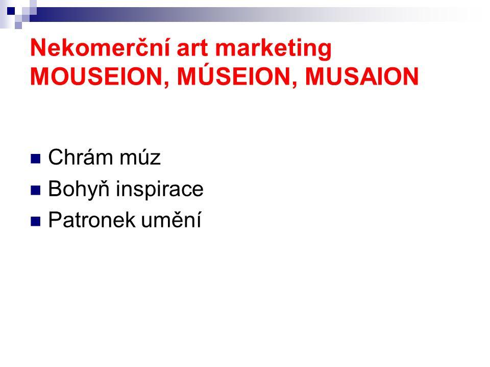 Nekomerční art marketing MOUSEION, MÚSEION, MUSAION Chrám múz Bohyň inspirace Patronek umění