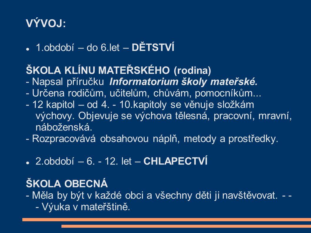 VÝVOJ: 1.období – do 6.let – DĚTSTVÍ ŠKOLA KLÍNU MATEŘSKÉHO (rodina) - Napsal příručku Informatorium školy mateřské.