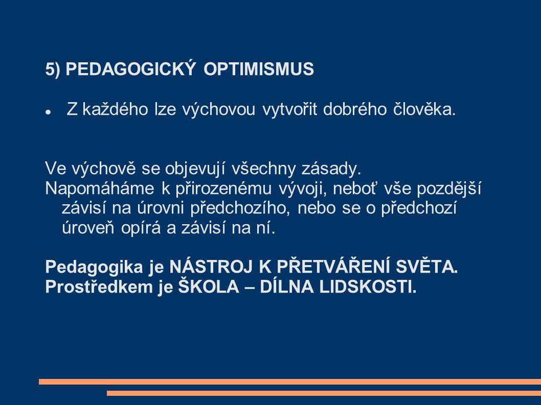 5) PEDAGOGICKÝ OPTIMISMUS Z každého lze výchovou vytvořit dobrého člověka.