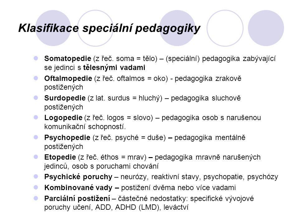 Klasifikace speciální pedagogiky Somatopedie (z řeč. soma = tělo) – (speciální) pedagogika zabývající se jedinci s tělesnými vadami Oftalmopedie (z ře