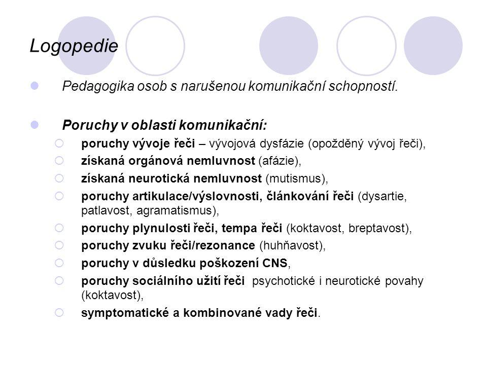 Logopedie Pedagogika osob s narušenou komunikační schopností. Poruchy v oblasti komunikační:  poruchy vývoje řeči – vývojová dysfázie (opožděný vývoj