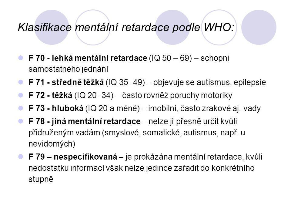 Klasifikace mentální retardace podle WHO: F 70 - lehká mentální retardace (IQ 50 – 69) – schopni samostatného jednání F 71 - středně těžká (IQ 35 -49) – objevuje se autismus, epilepsie F 72 - těžká (IQ 20 -34) – často rovněž poruchy motoriky F 73 - hluboká (IQ 20 a méně) – imobilní, často zrakové aj.