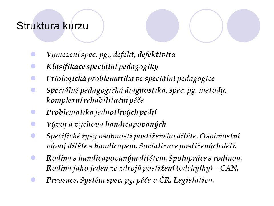 Struktura kurzu Vymezení spec.