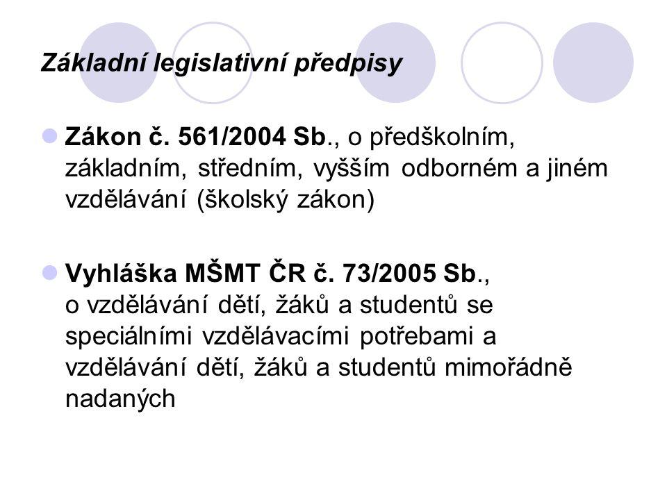 Základní legislativní předpisy Zákon č.