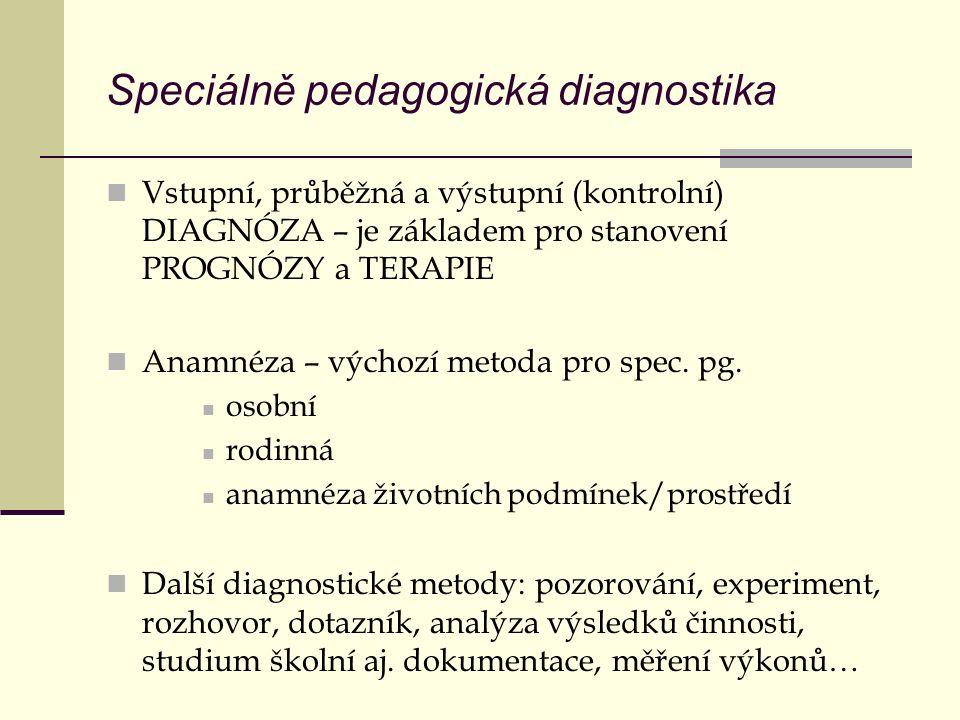 Speciálně pedagogická diagnostika Vstupní, průběžná a výstupní (kontrolní) DIAGNÓZA – je základem pro stanovení PROGNÓZY a TERAPIE Anamnéza – výchozí metoda pro spec.