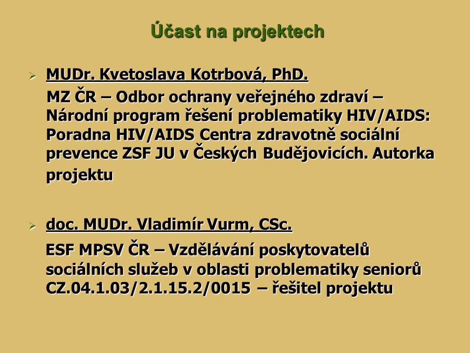 Účast na projektech Účast na projektech  MUDr. Kvetoslava Kotrbová, PhD.