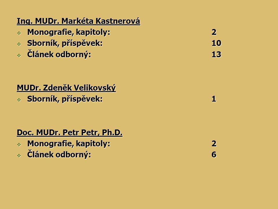 Ing. MUDr. Markéta Kastnerová  Monografie, kapitoly:2  Sborník, příspěvek:10  Článek odborný:13 MUDr. Zdeněk Velikovský  Sborník, příspěvek:1 Doc.