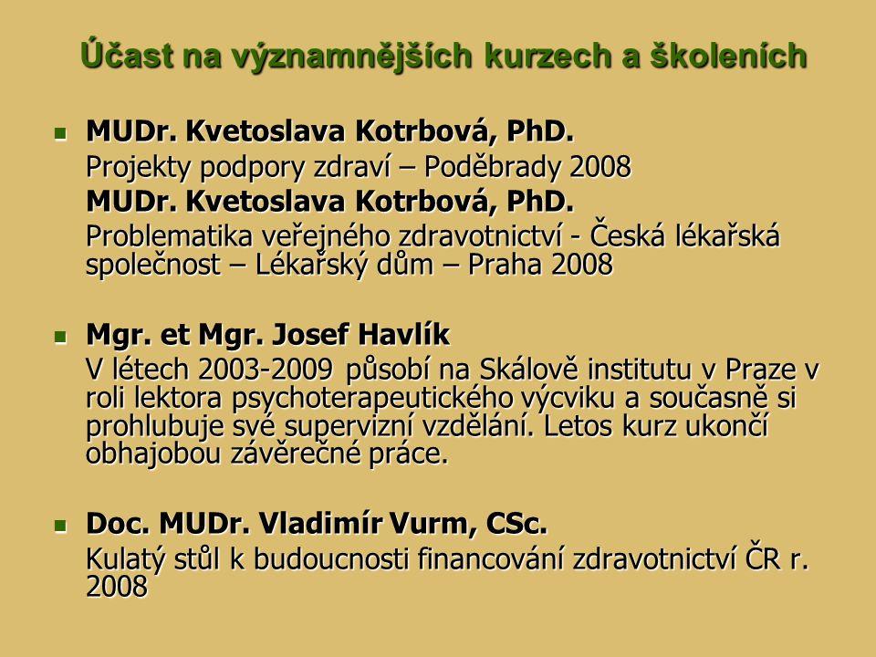 Účast na významnějších kurzech a školeních Účast na významnějších kurzech a školeních MUDr. Kvetoslava Kotrbová, PhD. MUDr. Kvetoslava Kotrbová, PhD.