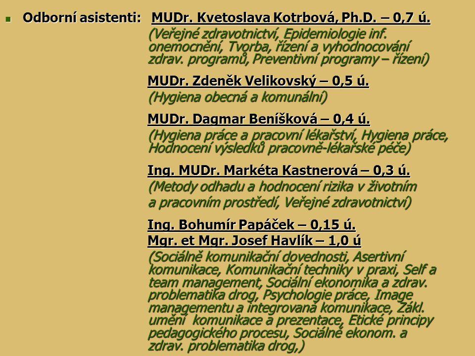 Odborní asistenti: MUDr. Kvetoslava Kotrbová, Ph.D. – 0,7 ú. Odborní asistenti: MUDr. Kvetoslava Kotrbová, Ph.D. – 0,7 ú. (Veřejné zdravotnictví, Epid