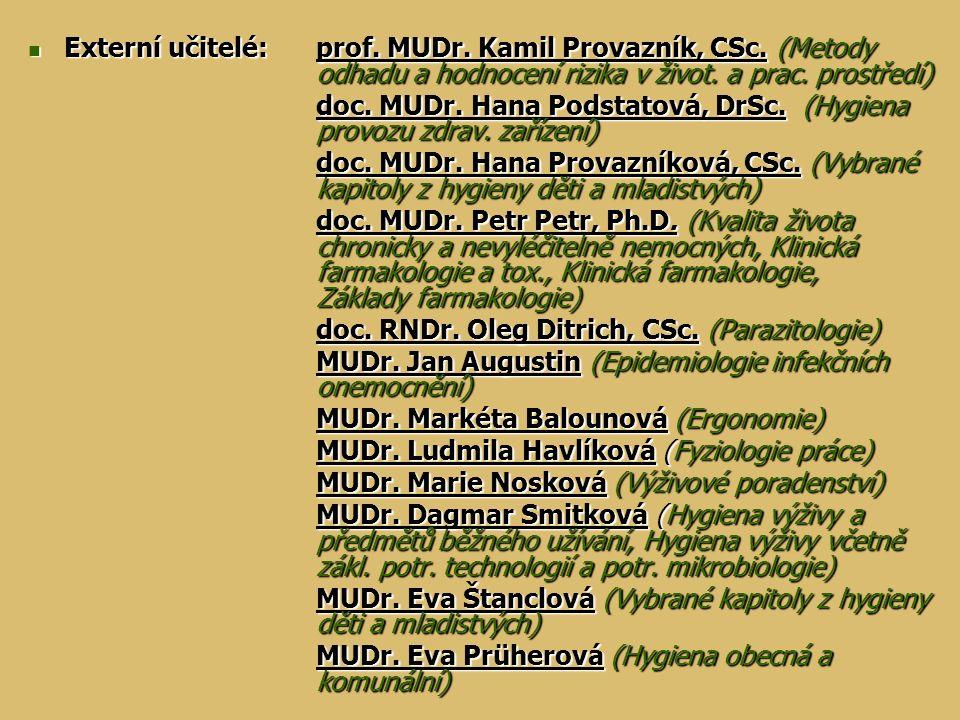 Externí učitelé: prof. MUDr. Kamil Provazník, CSc. (Metody odhadu a hodnocení rizika v život. a prac. prostředí) Externí učitelé: prof. MUDr. Kamil Pr