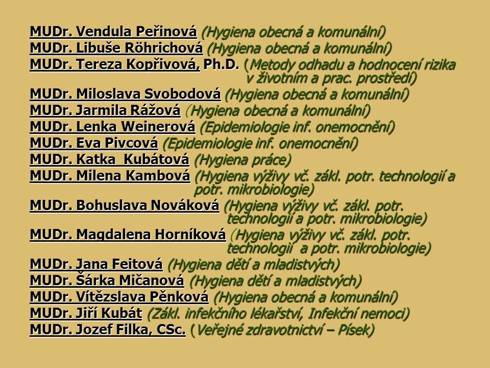 MUDr. Vendula Peřinová (Hygiena obecná a komunální) MUDr. Libuše Röhrichová (Hygiena obecná a komunální) MUDr. Tereza Kopřivová, Ph.D. (Metody odhadu