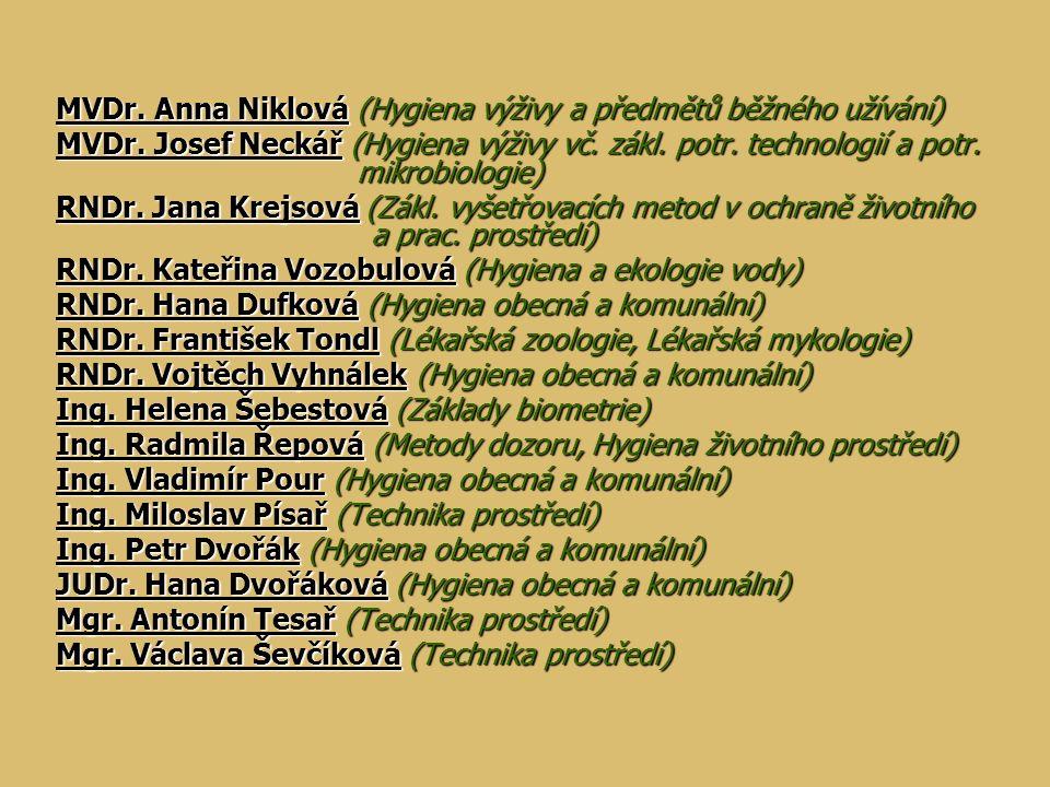 MVDr. Anna Niklová (Hygiena výživy a předmětů běžného užívání) MVDr. Josef Neckář (Hygiena výživy vč. zákl. potr. technologií a potr. mikrobiologie) R