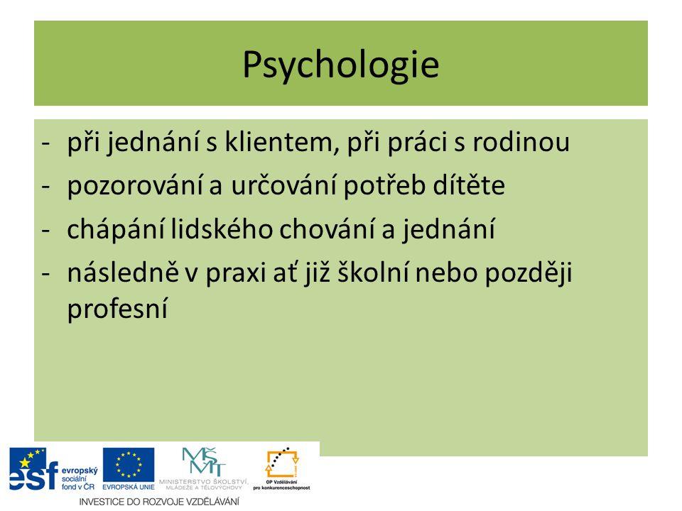 Psychologie -při jednání s klientem, při práci s rodinou -pozorování a určování potřeb dítěte -chápání lidského chování a jednání -následně v praxi ať
